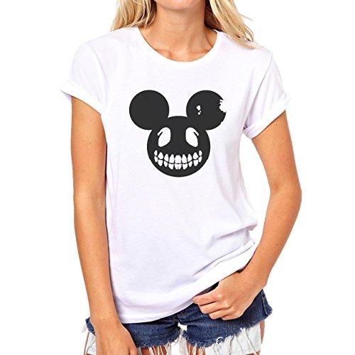 Boned Ears Black Mickey Mouse Skull Damen T-Shirt Weiß