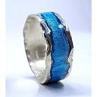 Anello in argento con borde fuso, e smalto trasparente - testo personalizzato