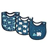 Decdeal 3 Stück Baby Lätzchen Spucktuch 100% Bio-Baumwolle mit Druckknöpfen