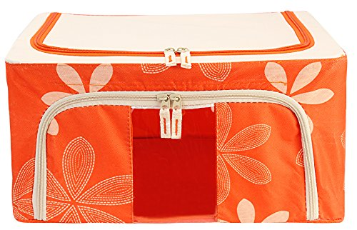 BlushBees® Foldable Wardrobe Cloth Organizer Bag, 24 Litre Capacity, Orange