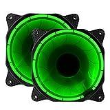 novonest 120mm rot LED Silent Fan für Computer Fällen, CPU, Kühler und Heizungen Ultra Leise High Airflow Gehäuselüfter, Twin Pack green PWM double fan