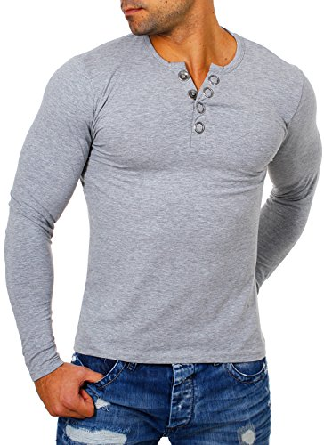 Young & Rich Herren Longsleeve Langarm T-Shirt Knopfleiste mit Extra Großen Metall Knöpfen Slimfit Big Buttons 2872, Grösse:S;Farbe:Grau (Button-dunkle T-shirt)