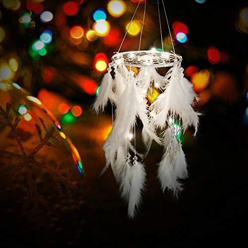 SUDADY-Home Atrapasueños con Lighting Pluma Blanca Pura campanillas Artesanía de decoración Colgante de Moda para Todas Las Ocasiones para traerte luz y Esperanza