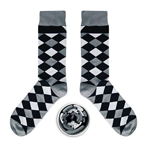 CUP OF SOX - Quadrate/Diamanten/Geometriemuster - Socken in der Tasse - Herren und Damen Geschenksocken Freizeit Socken (37-40, Grau) -