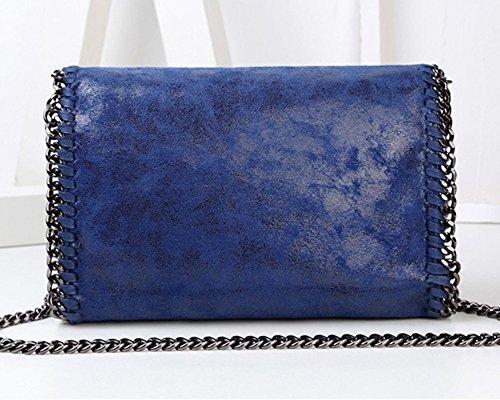 ShiFan Handtasche Clutch Damen Lederlook Glitzer Metallic Optik Mit Kette Grau Blau