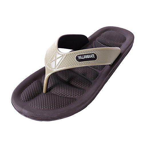 Braun Jungen-flip-flop (Sommer Schuhe innen & Outdoor-Flip Flops 100% Natur-Kautschuk Pantoffeln WILLIAM&KATE (45, Braun))