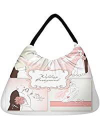 Snoogg Set Of Beautiful Vector Wedding Backgrounds Easy To Edit Perfect For Weddin Beach Tote Shopper Bag Handbag...