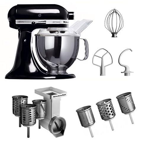 KitchenAid KSM150PSEOB + MVSA + EMVSC KitchenAid 5KSM150PSEOB Robot culinaire Artisan avec accessoires pour tranchoir/râpe à cylindres + set de trois cylindres (Noir) (Import Allemagne)