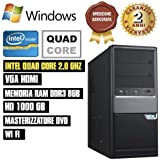 PC DESKTOP INTEL QUAD CORE RAM 8GB HD1TB DVD/HDMI + Wi Fi FISSO COMPLETO ASSEMBLATO ATX 500W CON SISTEMA OPERATIVO WINDOWS
