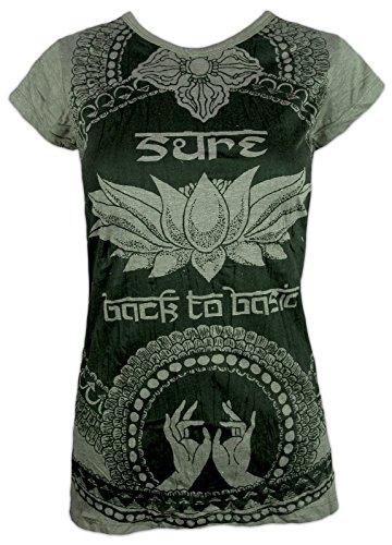 Sure Damen T-Shirt - Weisheit des Lotus Größe S M L Magie Buddhismus Zen Yogi Bohemian Indien Yoga Festival (Olive Grün L)