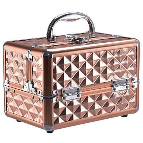 COSTWAY Beauty Case Schminkkoffer Kosmetikkoffer, Schmuckkoffer 23 x 15 x 18cm, Friseurkoffer mit Spiegel, Multikoffer Damen (Gold)
