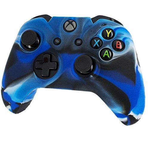 koolip Silikon Gel Gummi Grip Skin Schutzhülle-Anti-Rutsch für Microsoft Xbox One Controller Camo(Blue+Black+White)