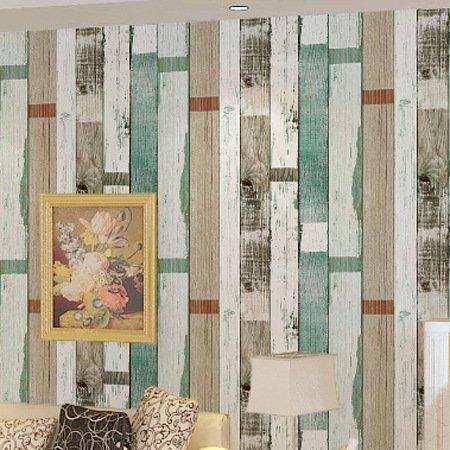 JSLCR Mediterranen Farbe Holz Holz Bars Cafés skandinavischen Retrotapeten Tapeten Schlafzimmer Tapeten,Retro-Blau