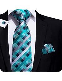 Cravatta classica blu con fazzoletto da taschino e gemelli 85fcffea64f1