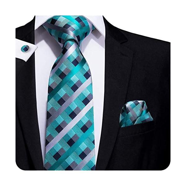 5472bc4810c9 Hi-Tie Mens Tie Pocket Square Cufflinks Set Wedding Necktie Gift Box ...
