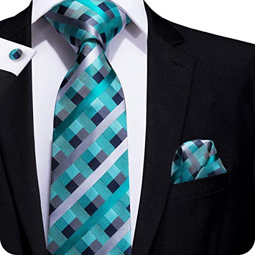 (Teal) - Hi-Tie Mens Navy Blue Plaid Tartan Paisley Solid Silk Tie Pocket  Square Cufflinks Neckties Set for Men