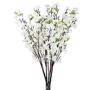 LEORX 10pcs Artificiali Peach Blossom Bouquet di Fiori Per la Decorazione (Bianco)