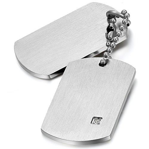 JewelryWe Schmuck Herren Halskette, Edelstahl 2 Glänzend Poliert Erkennungsmarken Dog Tag Anhänger mit 55cm Kette, Silber, mit kostenlos Gravur
