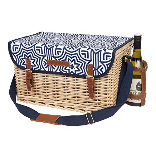 SunnyLIFE Traditioneller traditioneller 4-Personen Country Wicker Picknickkorb Azule (Espresso-ecke Schreibtisch)
