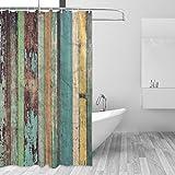 coosun Holz Hintergrund Polyester-Duschvorhang-wasserabweisend Schimmelresistent Vorhang für die Dusche für Badezimmer Badewanne dekorativer, 72W X 72L Zoll, Polyester, mehrfarbig, 72x72