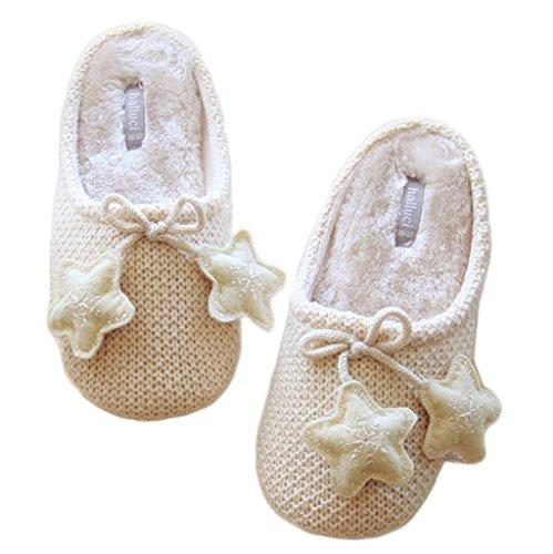 Fortuning's JDS Adulti Unisex coppia accogliente in maglia in vello Casa calzature comode pantofole con l'arco della stella Beige