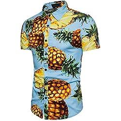 camisas slim fit, Sannysis Camisetas y polos para hombre camisetas interior blusa de moda Verano respirable camisetas termicas originales Personalidad Blusa estampada de piña manga corta (2XL, Azul)