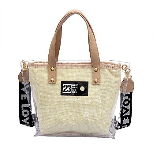 MOIKA Damen Billig Art- und Weisefrauen-Handtaschen-Totebeutel-Beutel-Schultaschen-Umhängetasche-klare Strand-Tasche(C,F)