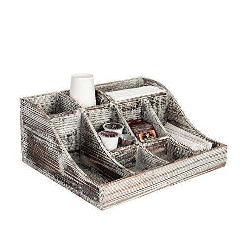 9-compartment Rustikal Torched Holz Tischplatte Gewürze, Kaffee und Tee Aufbewahrung Caddy -
