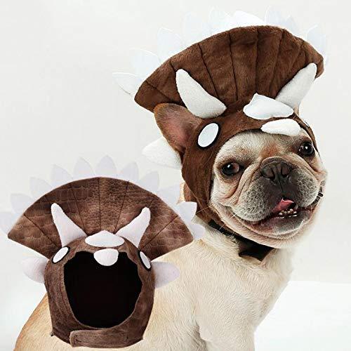 CJN Bulldog Cosplay Kostüm Hat Hund Halloween Triceratops Dinosaurier Kappe