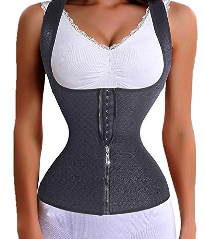 Women Waist Trainer Corset Slim Belt Zipper With Hook Lumbar Support Back Brace (S, Black(curves