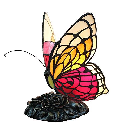 PMFSStained Glas Orange Schmetterling Akzent Lampe Nachtlichter Neuheit Schreibtischlampe Dekorative Rose Lampensockel -