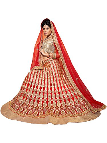 Aasvaa Red Color Net Lehenga Choli With Dupatta