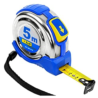 S&R tape measure 5.0 m x 19 mm, conveyor belt with compact stainless steel housing with belt clip, nylon polymer coated tape, Autolock, FERRO series, PROFI