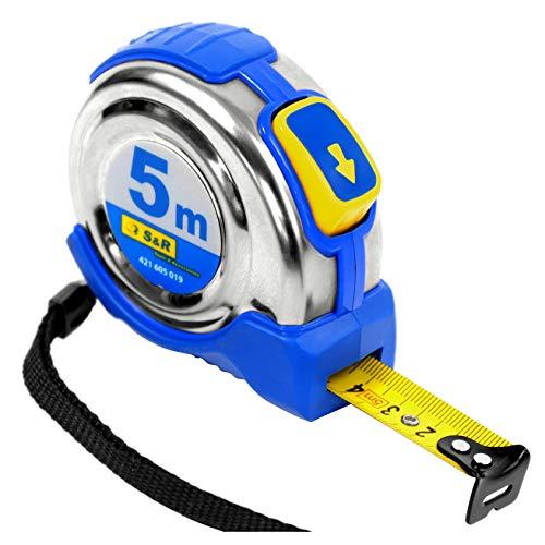 S&R Bandmaß 5m Edelstahlgehäuse und Gürtelclip Maßband mit Nylon-Polymer-Beschichtung und Auto-Lock, Maßband FERRO-Serie) Rollmeter Bandmass 5 m Rollbandmass Metermaß -