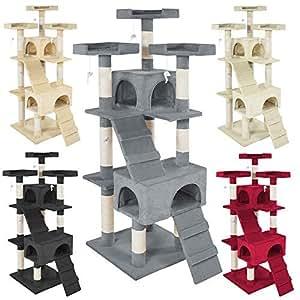 tectake arbre chat griffoir grattoir diverses couleurs au choix gris animalerie. Black Bedroom Furniture Sets. Home Design Ideas