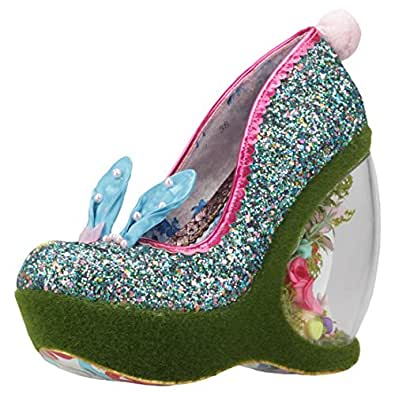 Irregular Choice Hop 2 It Donna Blue Multicolour Sintetico Zeppe 38 EU