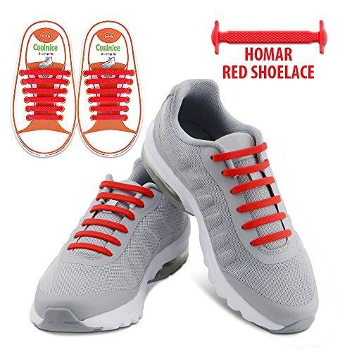 2 Paare Schnürsenkel für Kinder und Erwachsene - Wasserdichte Silikon Wohnung Elastisch Schuhband Sportlich Spitzenborte für Sneaker Converse Rennschuh 1 Paar Schwarz & 1 Paar Rot