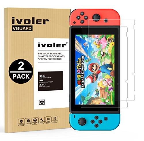 Ivoler [2 pack] pellicola vetro temperato per nintendo switch [garanzia a vita], pellicola protettiva protezione per schermo per nintendo switch
