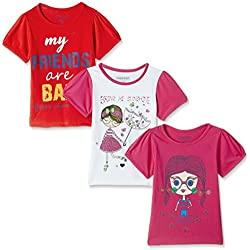 Cherokee Girls' T-Shirt (Pack of 3) (272518891_Assorted_05Y_HS)