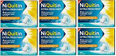 Niquitin Extra Fresh Mint 4mg Medicated Nicotine Gum 6X 200 Gum Boxes = 1200 Gums! *Expiry Date END of October 2019* from Niquitin