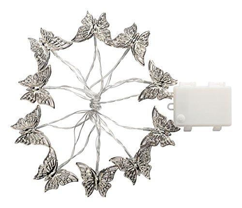 Gardman Batteriebetriebene LED Lichterkette mit 10 silbrigen Schmetterlingen, Plastik, silber 18581