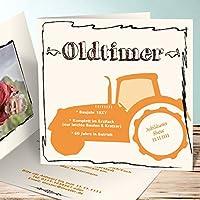 Einladungskarten 60 Geburtstag Selbst Gestalten, Bulldog Mit Foto 60 60  Karten, Quadratische Klappkarte 145x145