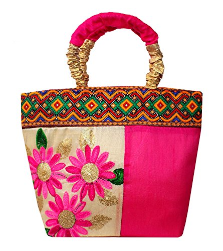 Women's fancy and Attractive Flower Themed Handbag/Brocade Bag/Purse/Embroidered Bag/Wallet/Clutch /Rajasthani Handbag -...