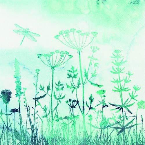 20 Servietten Blumenwiese im Nebel als Tischdeko für den Frühling und Sommer 33x33cm Herbst Nebel