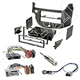 Einbauset : Autoradio Doppel-DIN 2-DIN Radioblende Radio Blende Halterung mit Ablagefach anthrazit metallic + ISO Radioanschlusskabel Radio Adapter + Antennenadapter für Honda Jazz 2009 -2013