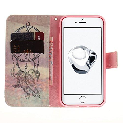 Vandot Ultra Slim Per Iphone 8 Custodia in Pelle ,Portafoglio Porta Carte e Protettiva, Flip Case per Iphone 8 Cover + 1 X Hairball Cinturino + 1 X Penna-Tigre Bianca Dipinto 7