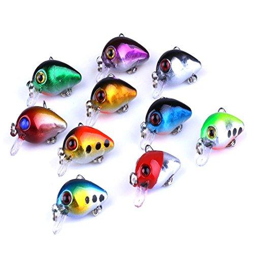 A-szcxtop - Señuelos de pesca con anzuelo de crankbait realistas con ganchos de agudos y ojos 3D, señuelos artificiales de agua dulce y agua salada para cebos de pesca