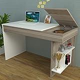 HIDDEN Scrivania - Avola / Bianco - Scrivania per computer - Scrivania ufficio - Porta PC Tavolo per Computer con Scaffale