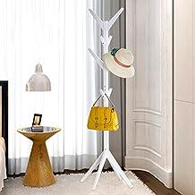 HWF Percheros Ramitas de árbol Silla de madera sólida tradicional - sombrero y soporte de la capa con el soporte del paraguas 2 colores Opcional ( Color : Blanco )