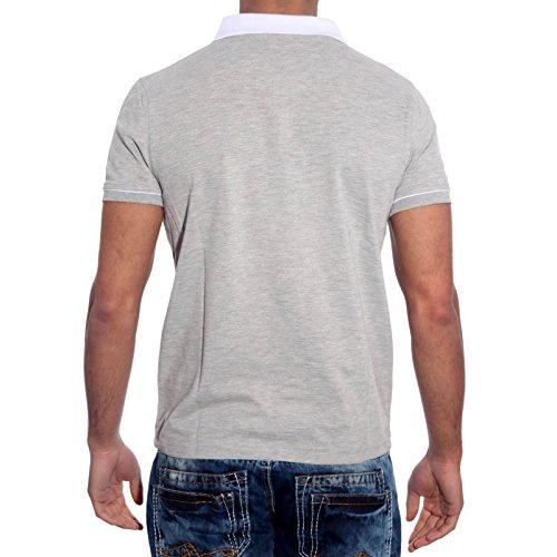 Subliminal Mode - Polo Herren Kurzarm Trend SB-6620 T-Shirts Hemd Grau